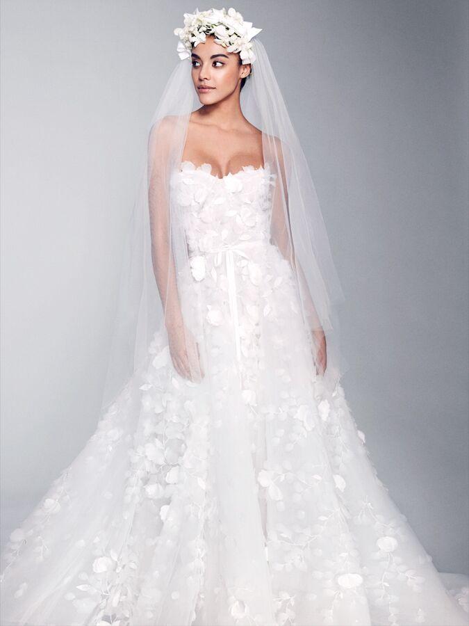 Marchesa strapless wedding dress with 3-D floral details