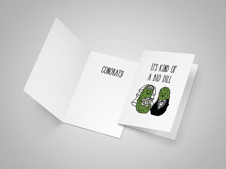 Playful black sans serif type with bride and groom pickles graphic on white background
