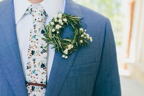 Rosemary Wreath Boutonniere with Baby's Breath