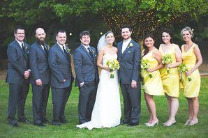 Gray Groomsmen Tuxedos and Yellow Bridesmaid Dresses