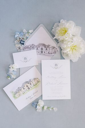 Blue-and-White Invitation Suite With Venue Illustrations