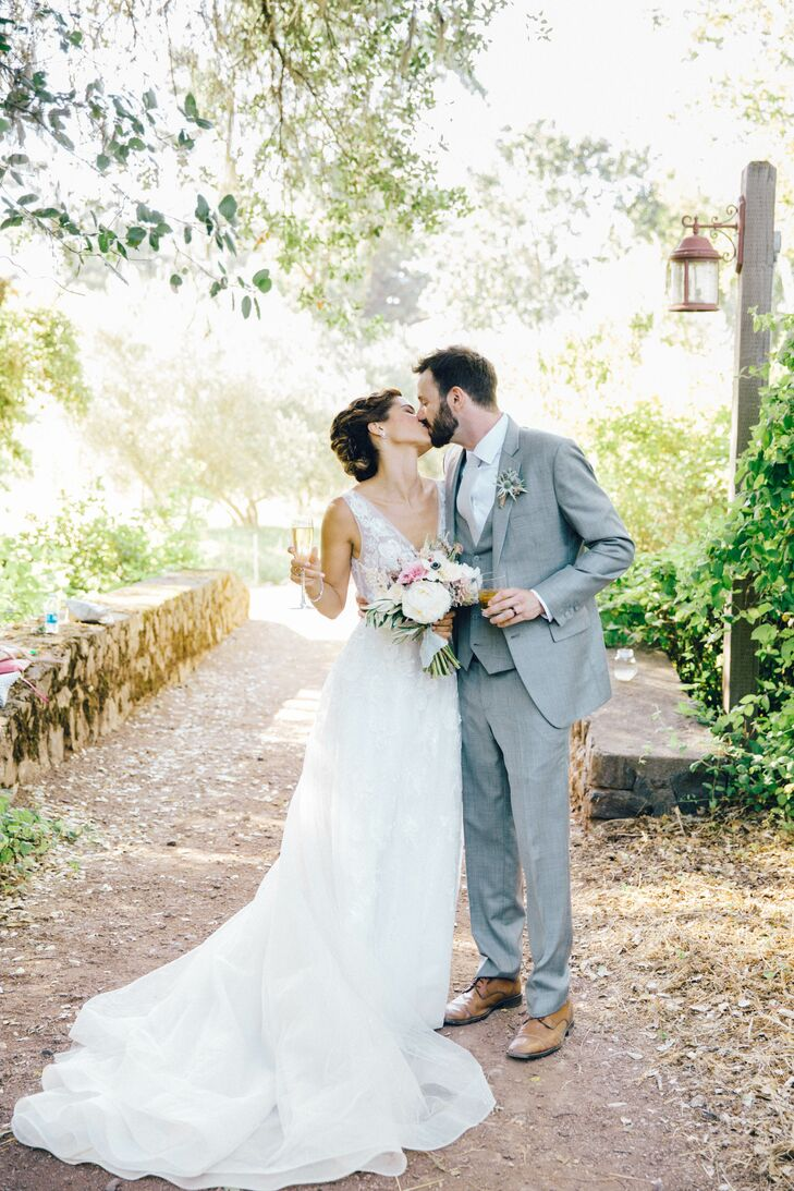 """For Claire Woods (29 and a lawyer), it all began with a bridesmaid dress. """"I knew I wanted a soft color palette, but once I found those Watters brides"""