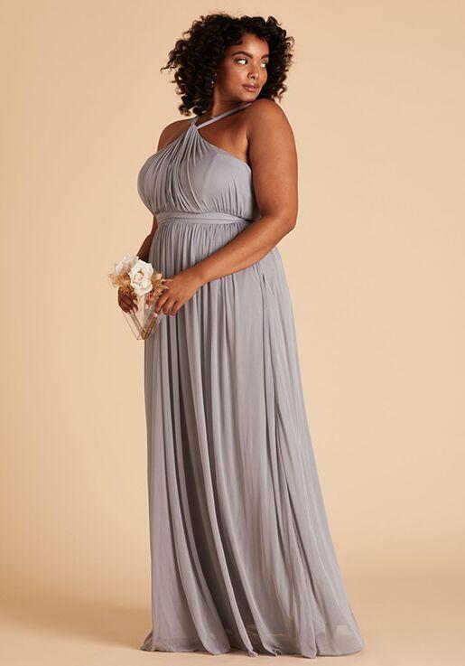 Birdy Grey Kiko Mesh Curve Dress in Silver V-Neck Bridesmaid Dress