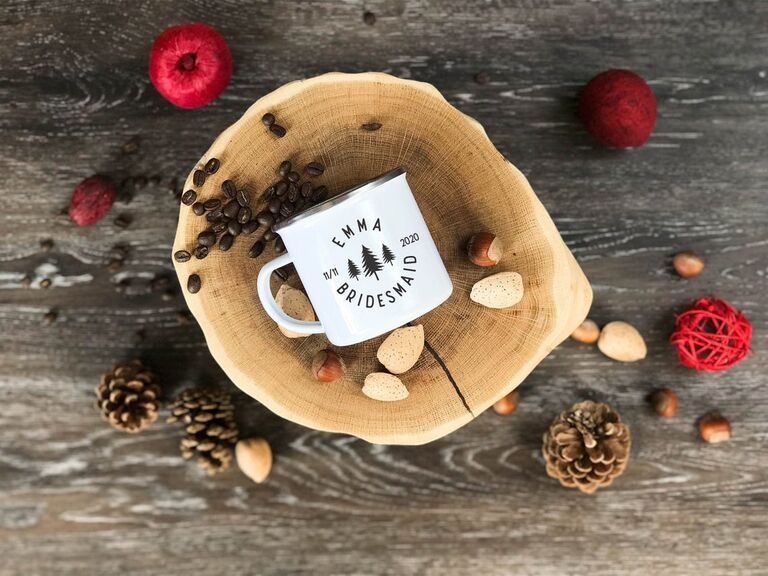 Rustic camping mug for bridesmaid