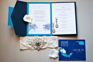 Turquoise and Blue Destination Wedding Stationery