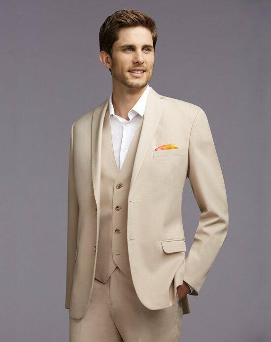 The Men's Wearhouse® Notch Lapel Tan Suit Wedding Tuxedos + Suit photo