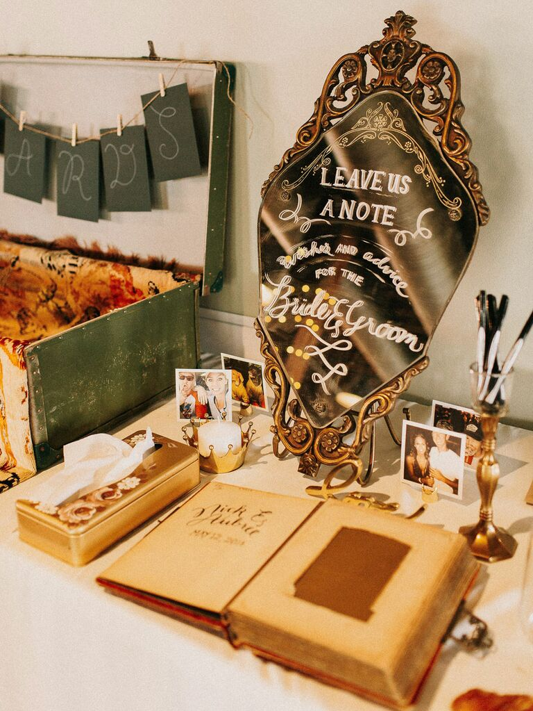 Vintage wedding guest book with antique mirrored signage