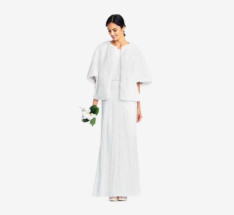 White faux fur open-front wedding jacket
