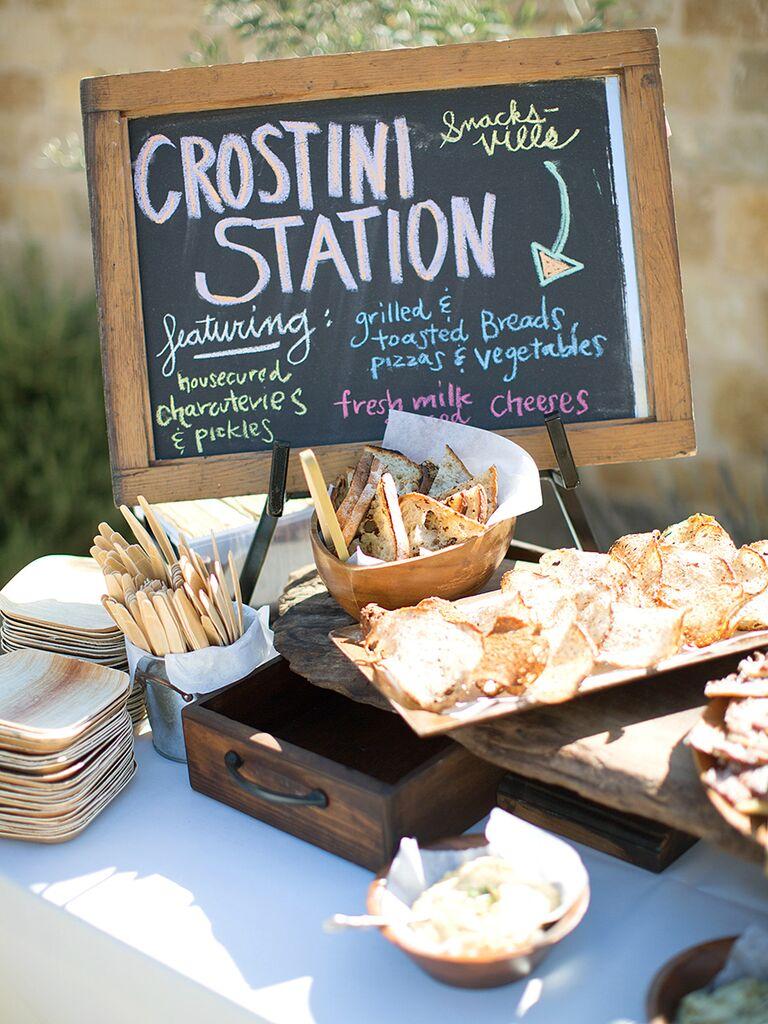 Crostini station idea for wedding reception food