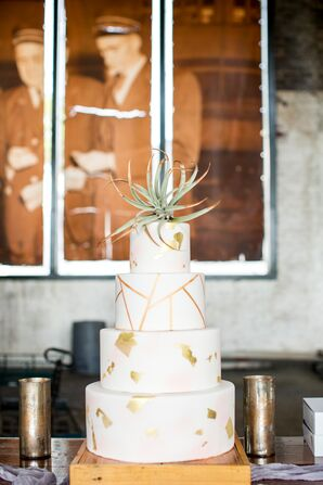 Round Tiered Cake with Succulent Topper and Gold Flakes