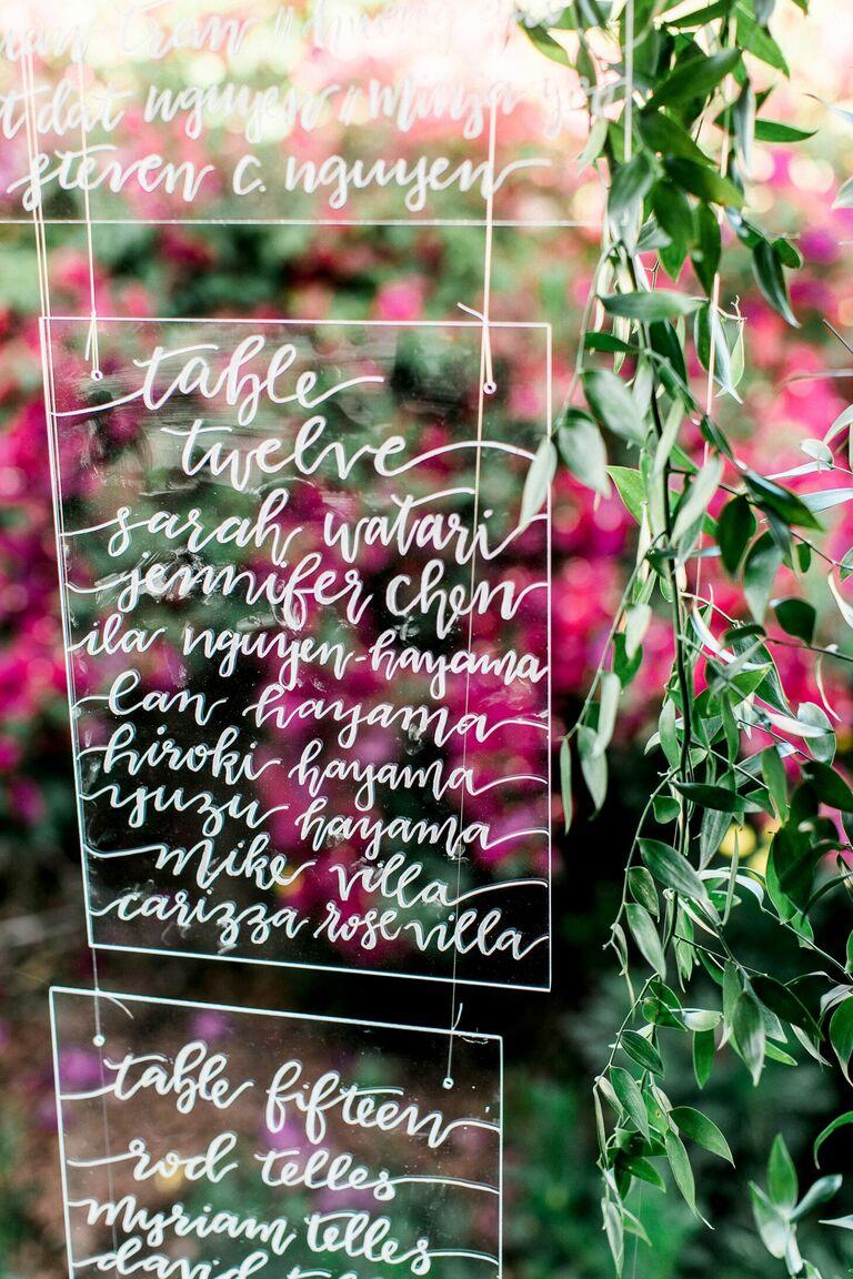 Calligraphed acrylic seating chart
