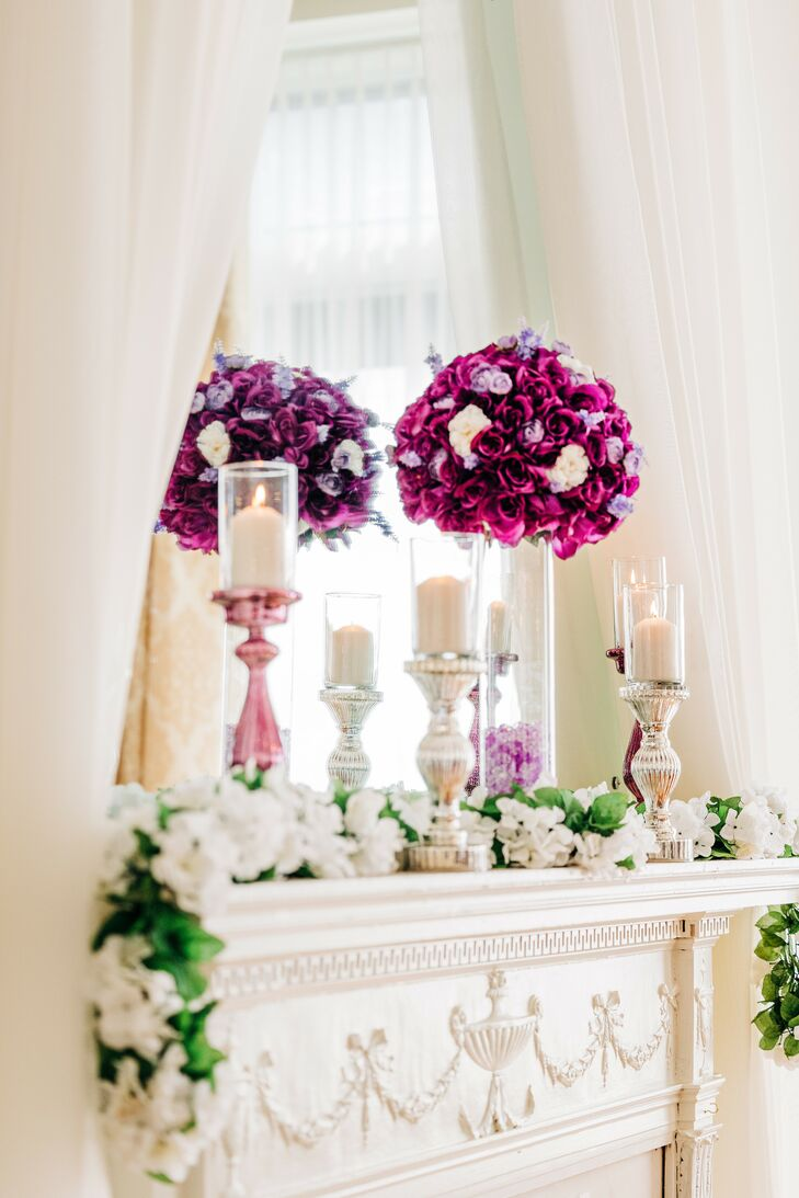 Purple Decorations for Wedding at The Hotel Concord in North Carolina