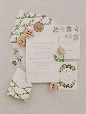 Sophisticated Wedding Invitations with Greenery Illustrations