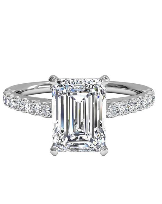 Ritani French-Set Diamond Band Engagement Ring - in 14kt White Gold (0.23 CTW) for a Emerald Center Stone Engagement Ring photo
