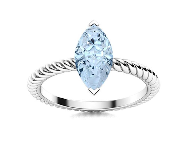 diamondere aquamarine engagement ring with marquise cut twisted white gold band