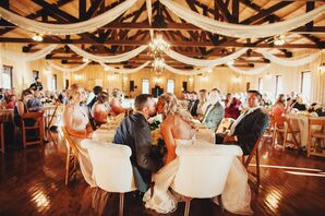 Rustic Reception Hall With Rafter Draping
