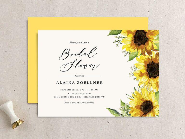 Sunflower border and elegant type on white background