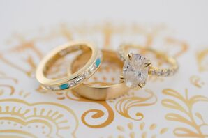 Gold Rings with Diamond and Turquoise