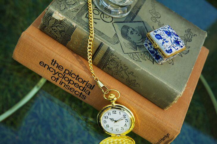 Vintage Books and Pocket Watch Decor