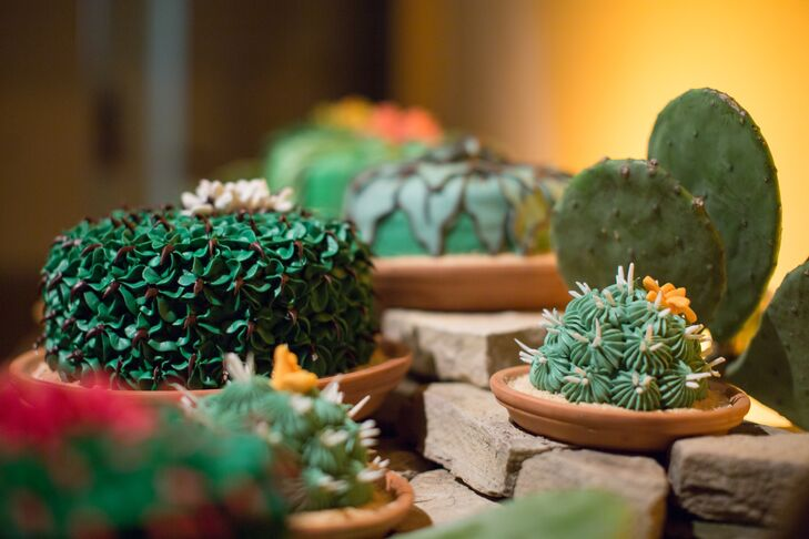 Instead of one groom's cake, the Alicia and Ian served a collection of 15 chocolate cakes that were decorated to look like cacti.