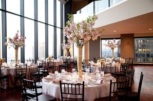 Tall Cherry Blossom and Tulip Centerpieces