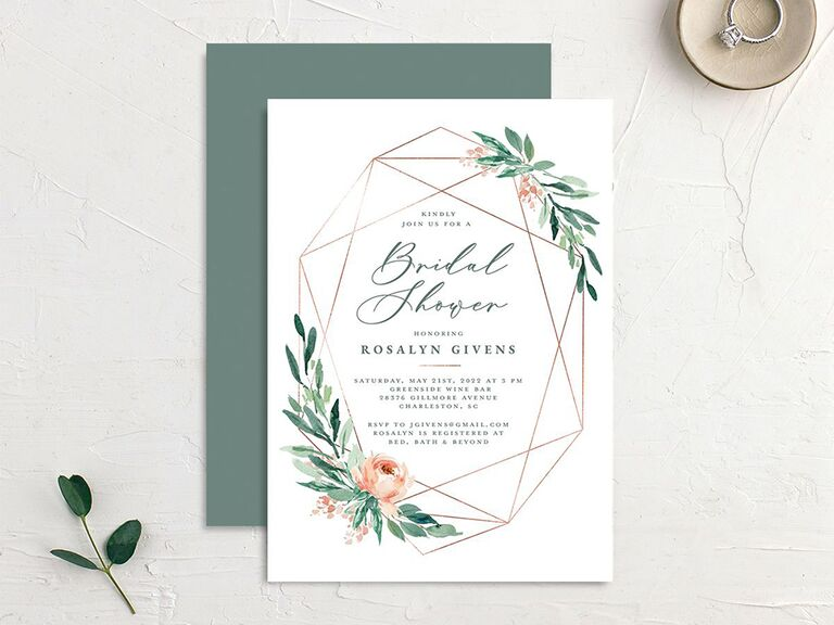 Gold geometric design and florals surrounding event details on white background