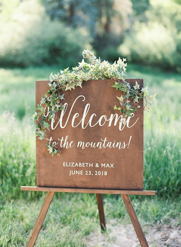 Calligraphed wood welcome sign