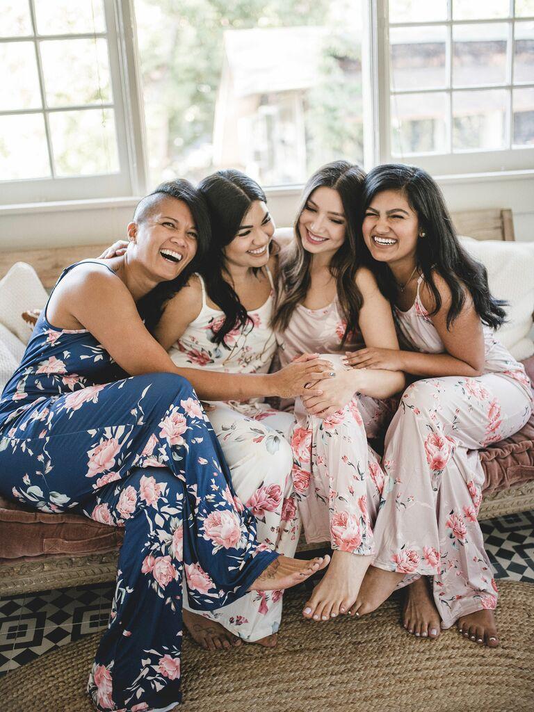 floral romper bridesmaid pajamas
