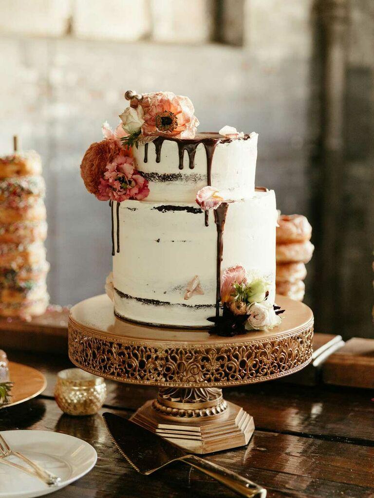 Semi-naked wedding cake with chocolate drip