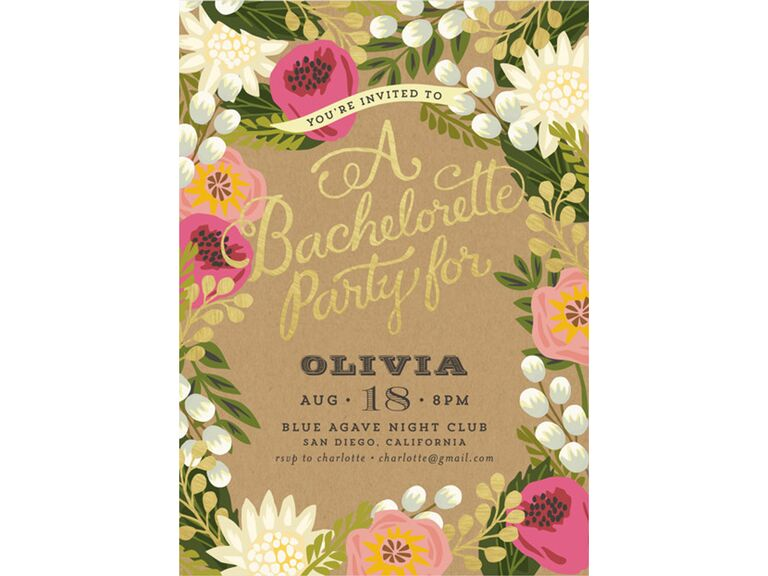 floral canopy bachelorette party invite
