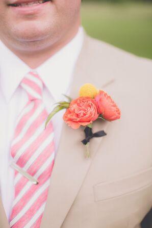 Orange Garden Rose Boutonniere