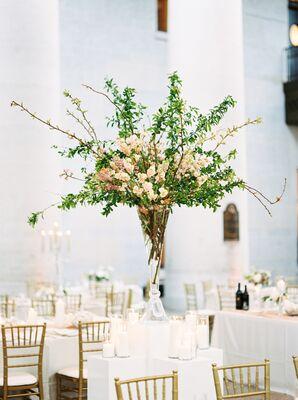Loose Asymmetric Cherry Blossom Centerpiece