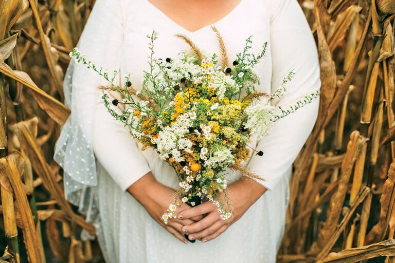 Yellow-and-green wildflower bouquet