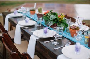 Rustic Place Settings with Succulent Centerpieces