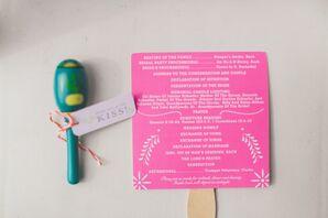 Pink Ceremony Program Fan