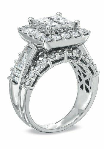 Zales 3 CT T W Princess Cut Quad Diamond Engagement Ring in 14K White Gold