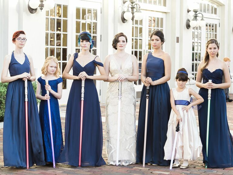Bridal party Star Wars lightsabers