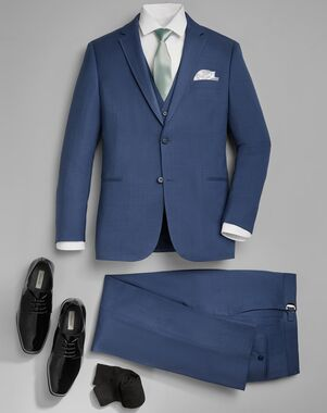 Men's Wearhouse Calvin Klein Light Blue Performance Wool Suit Tuxedo