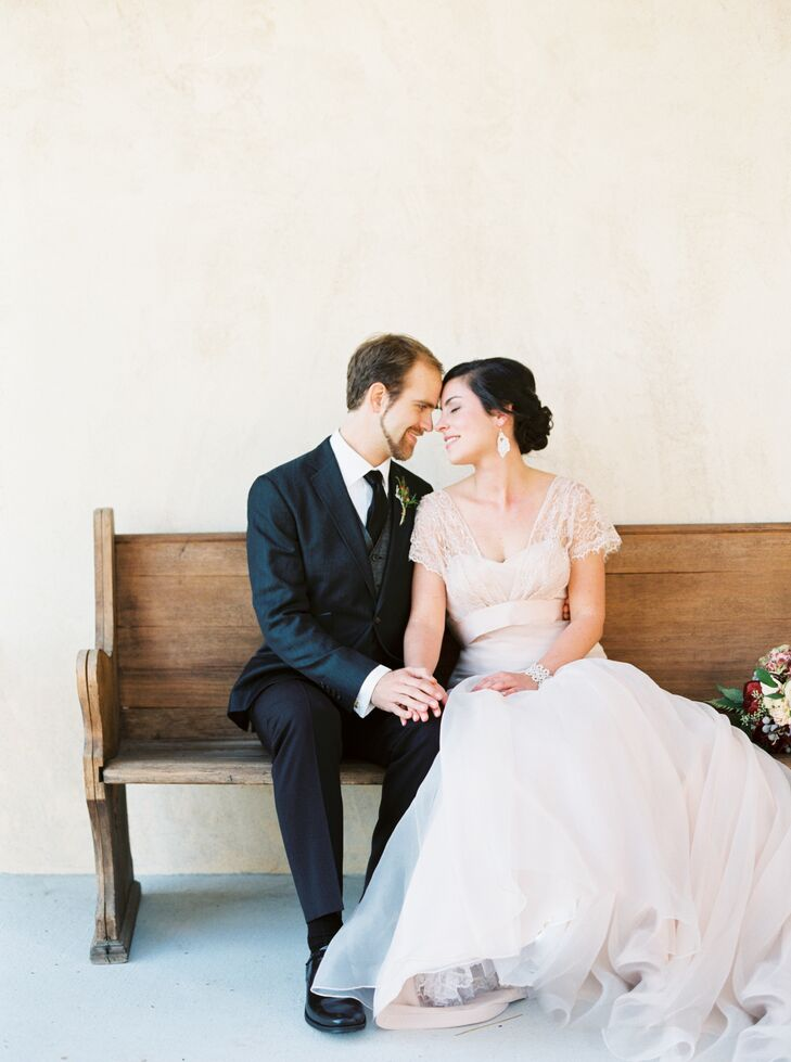 Ann had a lace cover-up draped over her shoulders, which she took off for the reception. She wore a strapless ivory Tara Keeley dress that she found a sample of, which meant no additional materials had to be used to create the gown.