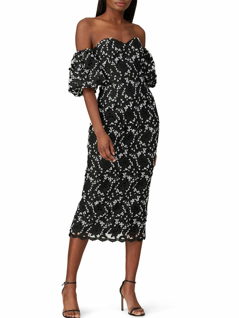 Black and white floral printed off-the-shoulder puff sleeve midi fall wedding guest dress