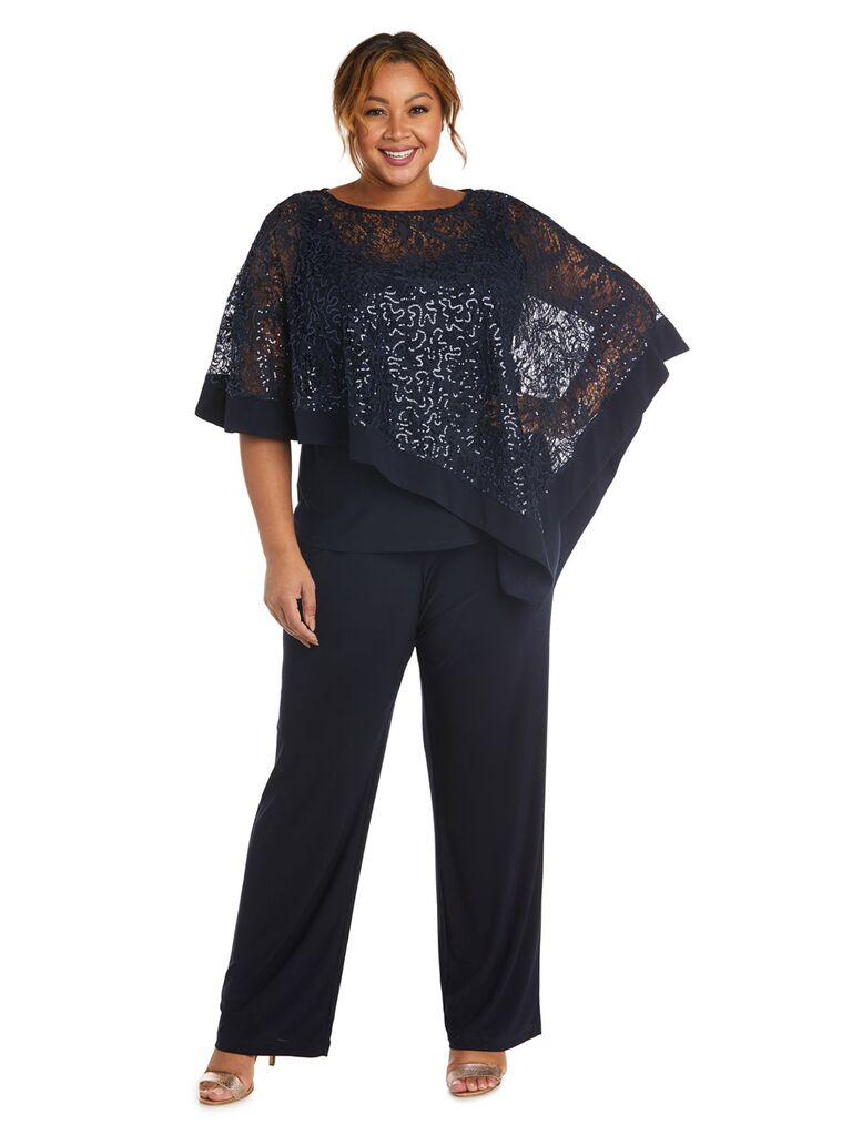 r and m richards navy mother of the bride pant suit with sequin and lace