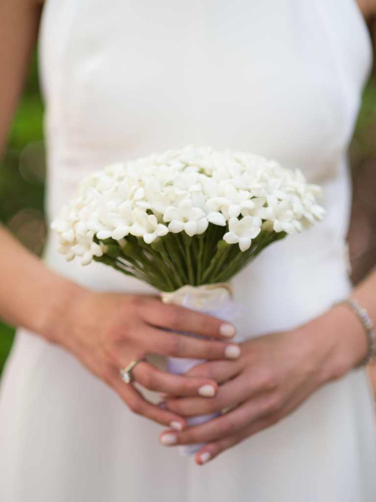All-white bouquet with stephanotis blooms