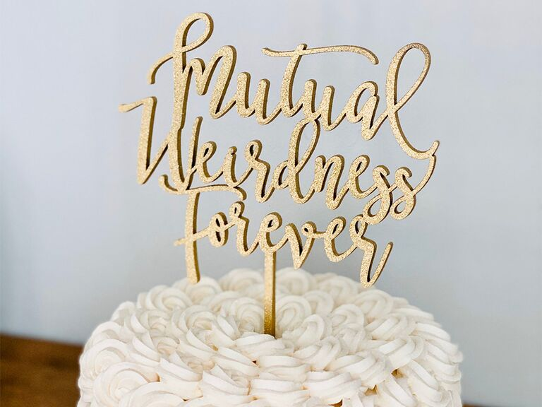 'Mutual weirdness forever' in modern gold glitter script