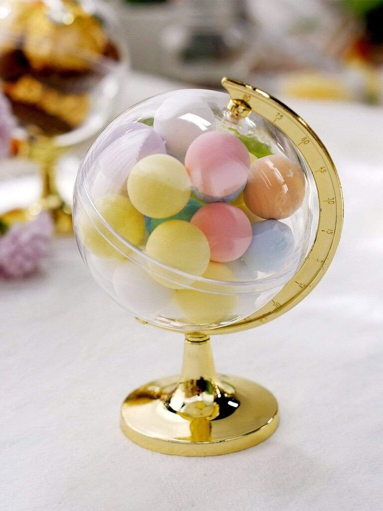 Clear mini 'globe' candy holder with gold stand