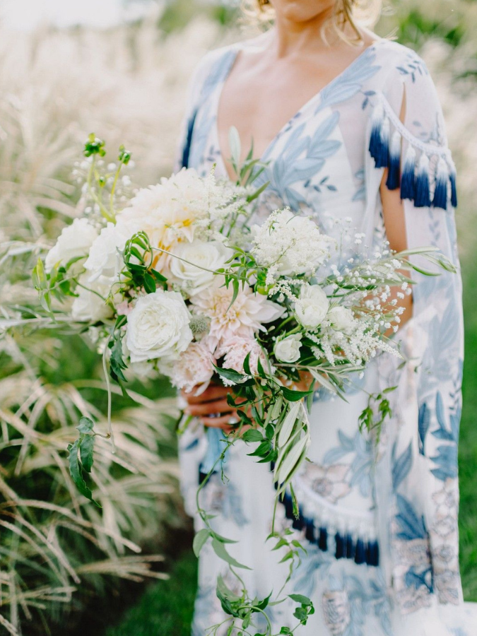 Boho white-and-green bouquet