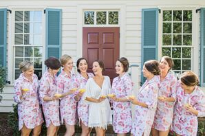 Bridesmaids in Matching Pink Floral Robes