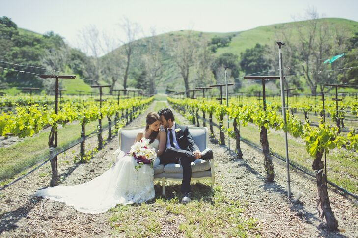 Lindsey and Clay seamlessly meshed vintage details with their vineyard setting with antique furniture.