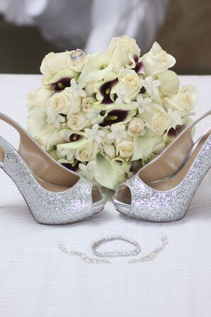 Sparkly Silver Peep-Toes and Ivory Rose and Calla Lily Bouquet
