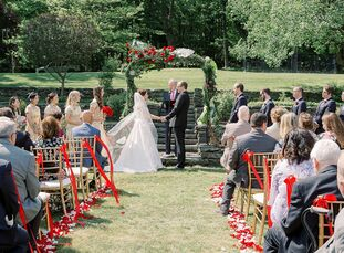 """Michelle and John's wedding day was dedicated to fusing their two cultures. """"We wanted to blend Chinese and American themes together, just as we were"""