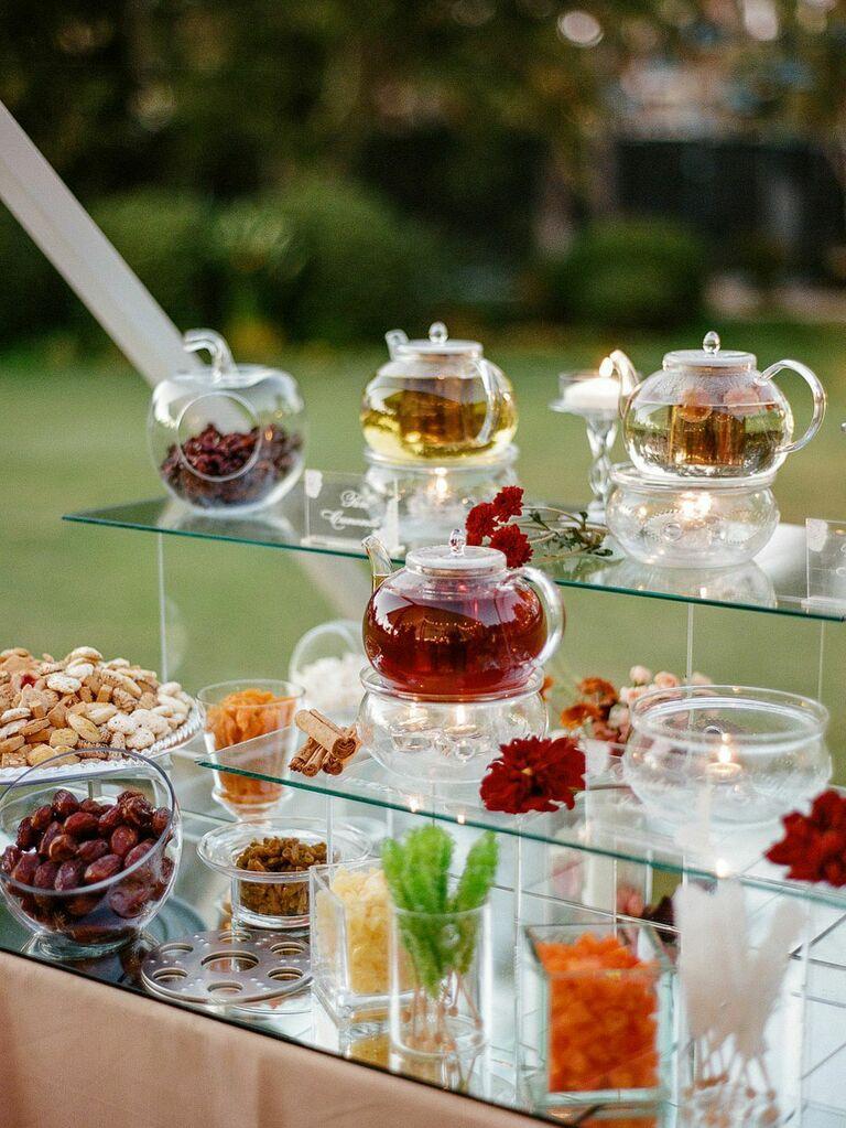 Assorted tea bar at wedding reception